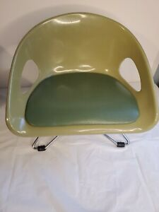 VINTAGE 1960s MCM ATOMIC STYLE COSCO MOLDED PLASTIC CHILD'S CHAIR USA AVACADO