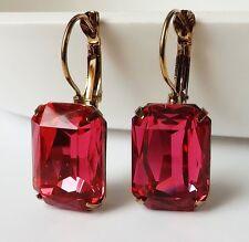 Ohrhänger Ohrringe Vintage Boheme Strass eckig fuchsia pink antik gold Brisur