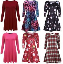 Womens swing dress skater top ladies 16 18 20 22 24 plus size plain printed swng