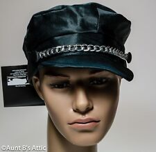 Biker Hat Black Satin Finish Cap With Silver Metal Chain Costume Acessory OS