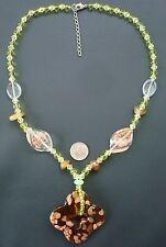 Lampwork glass necklace amber pendant peridot crystal copper swirls 22in nek009