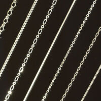 """1mm or 2mm Silver Plated Mens Womens Chain - 16"""" to 26"""" Necklace (10+ Styles)"""