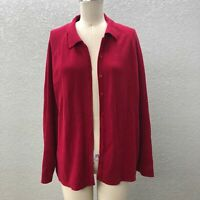 Talbots Knit Cardigan Sweater Women's Plus 1X Red Button Down Long Sleeve Collar