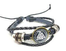 Leather Viking Vegvisir Rune perun Viking Cuff Bracelet Icelandic Stave Norse #4