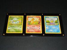 Pokemon Base Set 1 Bulbasaur, Charmander, & Squirtle - Ultra-Pro 3-Card Holder
