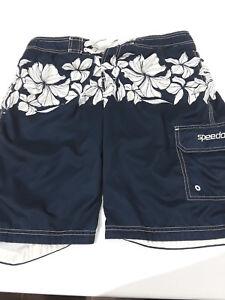 Speedo lined board shorts navy Hawaiian print sz M