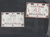 "ONTARIO, Belleville 1982 license plate ""42"" *TAXI/CARTAGE***MATCHED PLATE # SET*"