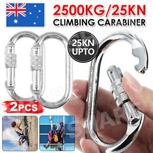 2X Mountaineering Climbing Carabiner Steel Screw Lock Hook 25KN or 2500kg Silver