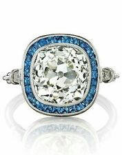 5 ct Cocktail Party Ring inspired 925 Sterling Silver Cushion Blue Baguette Cz