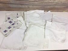 Vtg Cloth Napkin LOT of 16 White Cotton Linen Dinner Zero Waste Mixed Lot
