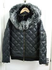 Barbour Women's Black Dorset Quilted Faux Fur Hooded Natural  Down Jacket UK12