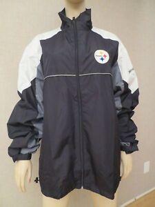 Pittsburgh Steelers Windbreaker Rain Jacket size XL Nylon Reebok apparel NFL