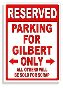 Personalized Parking Sign Wall Decal Metal Sign No Parking Customized GILBERT