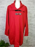 Chaps 3X red cotton jacket with faux leather strap closures with tags