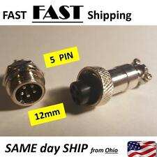 XLR 5 Pin 12mm Male & Female PAIR -- quick connect 5pin