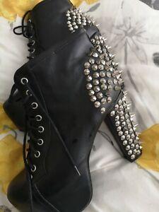 Jeffrey Campbell Lita Womens Black Leather Studded Platform Ankle Boot UK Size 8