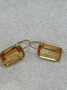 14k pierced hook earring citrine 3.4g