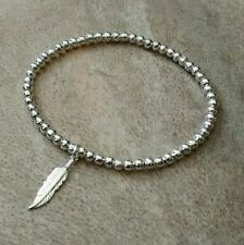 Simple Silver Ball Beaded Lucky Angel Feather Charm Surfer Stretchy Bracelet