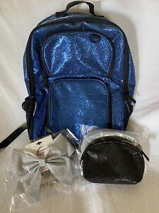 Chasse cheer bundle-GLITTER GUC Royal backpack, NWT makeup bag, NWT silver bow