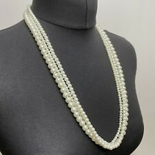 Diff Thickness Good Quality Heavy Multi Strand Faux Pearl Beads Necklace