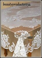HERITAGE LACE Rectangular Tablecloth VICTORIAN ROSE White or Ecru 2 SIZES USA~