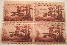 3c 1956 Wild Turkey Stamps--PANE OF 4