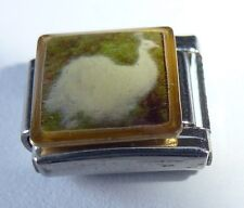 WHITE PEACOCK Italian Charm BY8 - Feathers Bird fits ALL 9mm Starter Bracelets