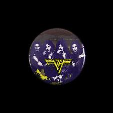 """1980's Van Halen 1 1/4"""" Pinback Button Blue Background"""