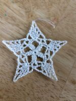 """Hand Crochet Starched Christmas Snowflakes Ornaments 3"""" Cotton 5 Point Star"""