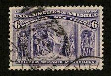 US 1893 #235 - 6c Columbian Expo - Columbus at Barcelona - Used Superb