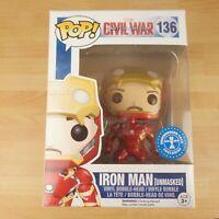 136 Funko Pop! Marvel Civil War Capt America Iron Man Unmasked Vinyl Bobble Head