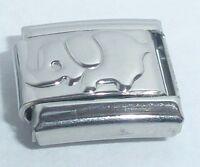 Silver ELEPHANT Italian Charm 9mm - fits classic starter bracelets N296 Shiny