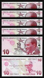 Turkey 10 Lira 2009 - 2020, UNC, 5 Pcs LOT, Prefix D 001, P-New Sign