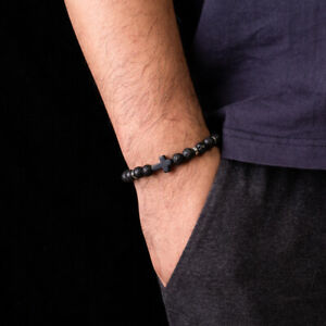 Fashion 8mm Black Nature Stone Lava Stone Bead Cross Charm Bracelets Bangles