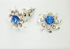 10mm Blue and Clear Crystal & Silver Tone Faceted Stud Earrings