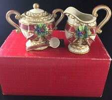 Fitz And Floyd Christmas Deer Sugar And Creamer Set With Spoon