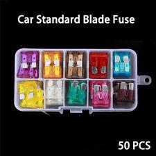 50Pcs  Assorted Car Standard Medium Blade Fuse Automotive Replacement Fuses Kit