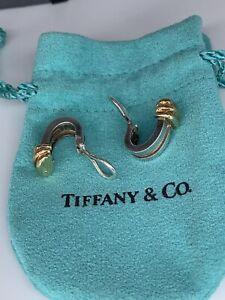 "Tiffany & Co. ATLAS 1995 Sterling 18k Yellow Gold Grooved Hoop Earrings 0.75"""
