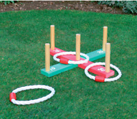 Wooden Quoits Garden Game Kid's Outdoor Fun Rope Hoops Ring Toss Family Games
