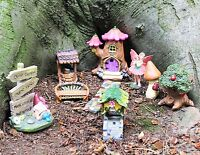 Secret Fairy Garden Magical 9 piece set tree Log House Pixie Ornaments Craft