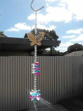 1 x suncatcher mobile crystal glass beads butterfly fuchsia pink dreamcatcher