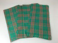 4x 60er 70er Jahre Tischdecke Decke Stoff Karomuster Grün Rot Space Age Design