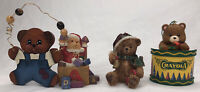 Lot Of 4 Christmas Bears Decorations Ornaments Magnet Holidays Brown Bear