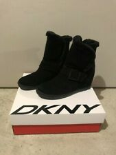 DKNY SUEDE WEDGE BOOTIES BOOTS DONNA KARAN NEW YORK 7.5 FAUX FUR RETAIL $210