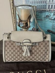 GUCCI Emily Canvas GG Beige Leather with Chain Shoulder Medium Bag