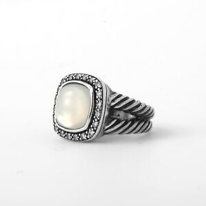 David Yurman Albion Cable Ring 11mm Moonstone Diamonds Sz 6.25
