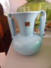 "STANGL Satin Blue #3103 Vase Original Label 7 1/4"" tall Circa 1937-41"