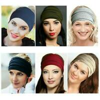 Girls Women Wide Sports Yoga Gym Stretch Cotton Headband Head Hair Band AU