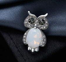 Eule Brosche Owl Perlen mit SWAROVSKI Kristallen Anstecknadel 18K Weißgold pl