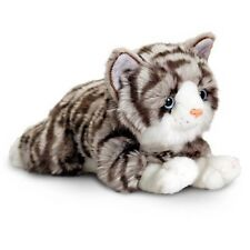 Grey Tabby Cat Cuddly Soft Plush Teddy Toy Kitty Kitten Cute Pet Jade 30cm